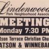 Yard Sign for LPNA meeting at Watson Terrace Church