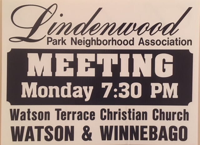 Yard Sign for LPNA meeting at Watson Terrace Church
